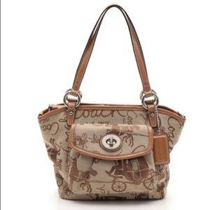 COACH handbag canvas enamel leather tea 2WAY
